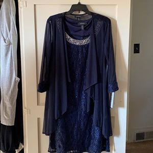 Navy Blue Sleeveless Dress with Lace